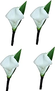 Set of 4-Real Touch Ivory (Off White) keepsake calla lily boutonniere