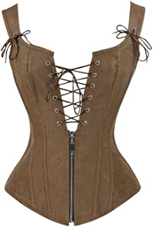 Women's Renaissance Lace Up Vintage Boned Bustier Corset with Garters