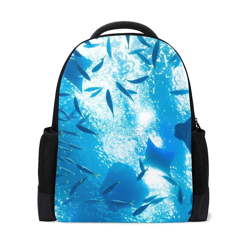 間接的ファッション食用AOMOKI リュックサック バッグ 男女兼用 通勤 通学 大容量 メンズ レディース エイ 水族館 水面 泳ぐ 魚