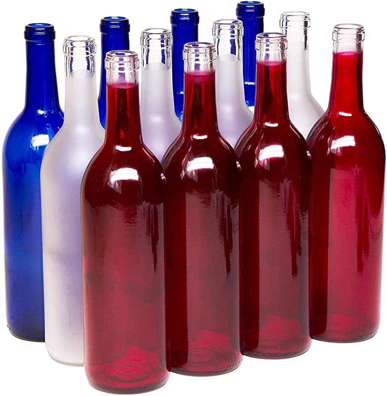 North Mountain Supply 750ml Red White Blue Assortment Glass Bordeaux Wine Bottle Flat Bottomed Cork Finish Case Of 12