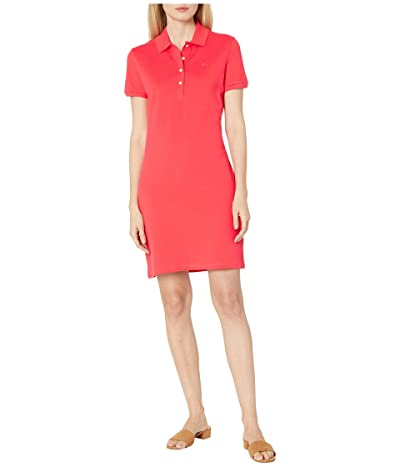 Lacoste Short Sleeve Slim Fit Stretch Pique Polo Dress (Energy Red) Women