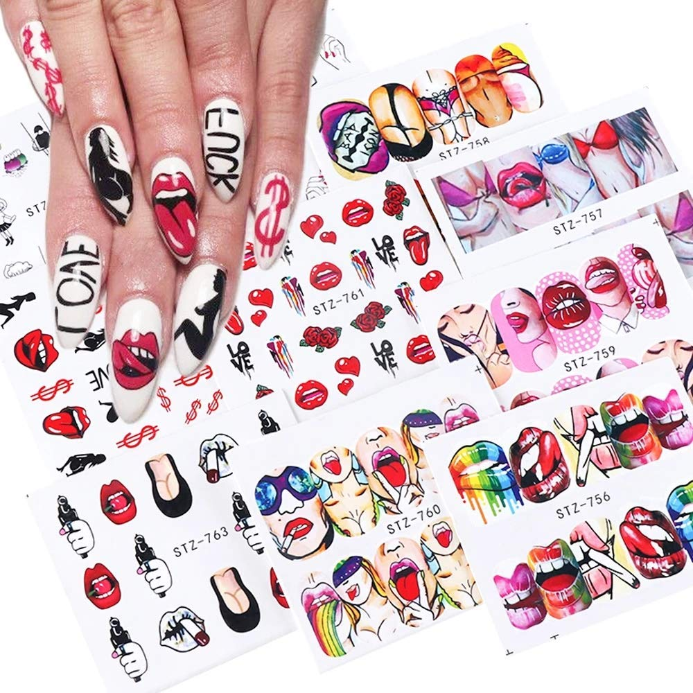 9Sheets Lips Classic Nail Art Stickers S Decals Day Valentine's