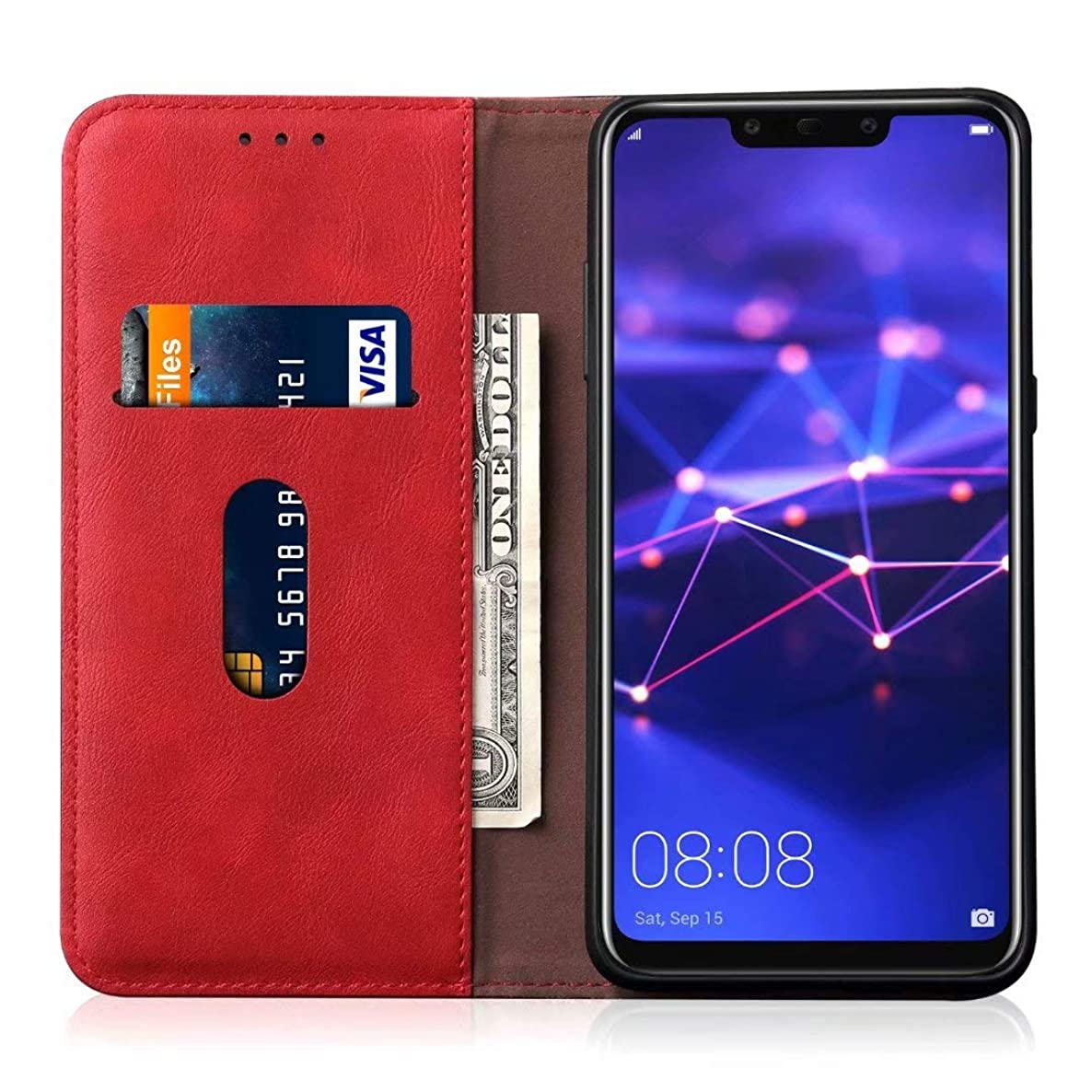 Huawei Mate 20 lite,MYLBOO Lychee Texture PU Leather Wallet Case with Stand Function Card Slots for Huawei Mate 20 lite (red)