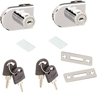 Qyful Single Swing Glass Cabinet Showcase Door Lock Chrome Plated Display Glass Cabinet Lock Separate Key No Drilling Required 4.8cm 2 Pcs