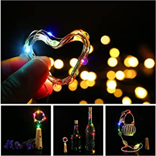 Advocator Color Changing Wine Bottle Lights with Cork Battery Operated,Copper Wire Bottle Lights for DIY Party,Home,Decor,Christmas,Wedding,Tree Light - Batteries LR44(Included),Colorful