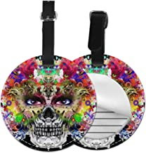 Free-2 Hand Drawn Indian Skull Luggage Tag 3D Print Leather Travel Bag ID Card