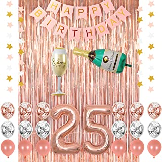 Rose Gold 25 Birthday Party Decorations Supplies Champagne Balloon Pink Happy Banner