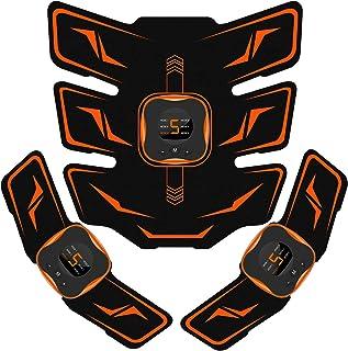 EMSIC EMS 腹筋ベルト 液晶表示 USB充電式 腹筋パッド 6種類モード 9段階強度 腹筋 腕筋 筋トレ器具 男女兼用 トレーニングマシーン ジェルシート10枚付き 日本語説明書付属
