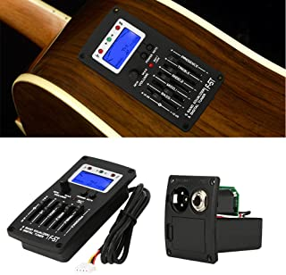 Tbest Guitar Preamp Equalizer Digital Tuner,F-5T 5Band Equalizer Pickup,Digital Tuner Pickup Acoustic Electric Guitar Preamplifier Tuner with LCD Tuner and Volume Control
