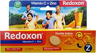 Redoxon Vitamin C Tablets | Orange Flavor, Effervescent Double Action Supplement of Vitamin C and Zinc for Immune System Support, Healthier Lifestyle, and More Energy; 20 Tablets