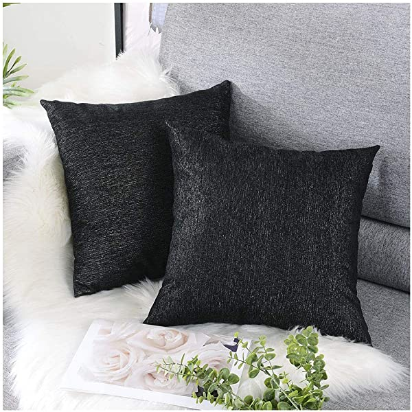 HOMEPLUS Sparkle Throw Pillow Covers With Chenille Fabric 2 Pack 17X17 For Christmass Festival Square Cushion Cover Black