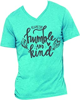 Always Stay Humble Kind Feathers Teal Women's Triblend V-Neck T-Shirt
