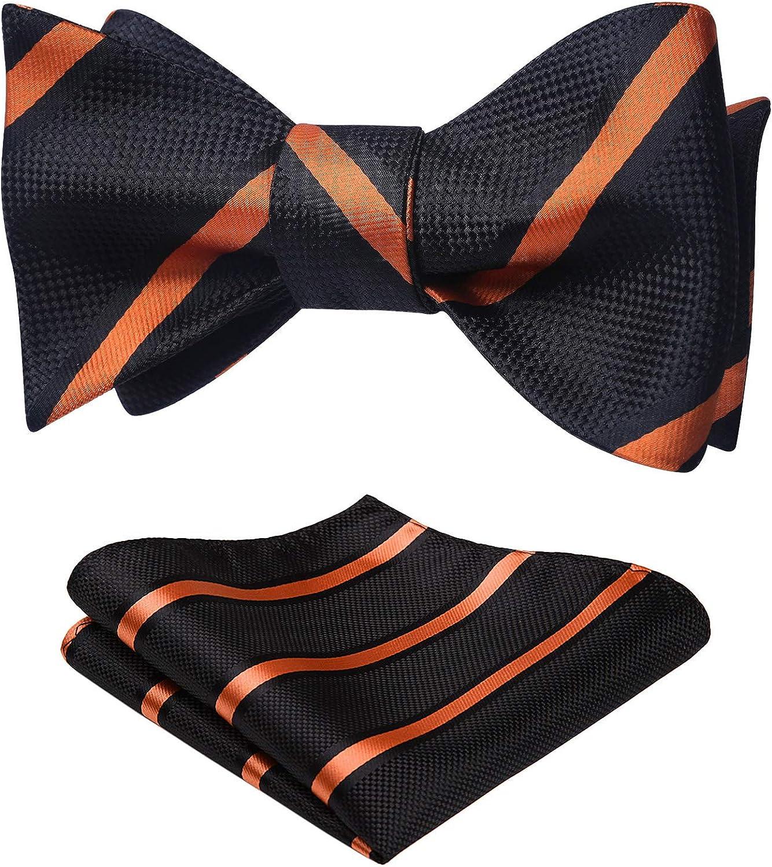 HISDERN Men's Stripe Jacquard Woven Wedding Party Self Bow Tie Set