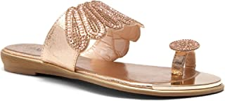 Showstopper Womens Rhinestone Bohemian Slip On Flip Flops Shoes Strap Gladiator Toe Loop Flat Sandals