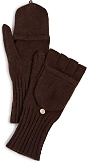 Women's Knit Texting Cashmere Mittens, Brown, One Size