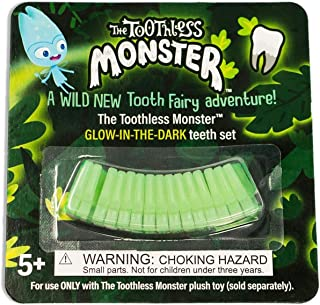 The Toothless Monster - A Wild, New Tooth Fairy Tradition - Glow-in-The-Dark Teeth Set