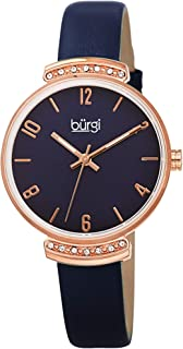 Burgi Swarovski Crystal-Studded Lug Women's Watch – Classically Designed Crystals Lug on a Decorated Dial with Elegant Hand-Applied Markers - Genuine Leather Strap - BUR254