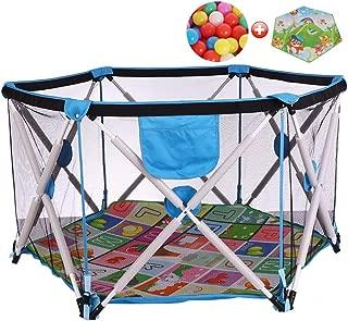 MWPO Baby tent playpen for children Playpen Pop-n-play indoor and outdoor activities for indoor and outdoor activities  play mat for ramps and 200 balls  blue