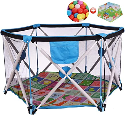 CXHMYC Baby tent playpen for children Playpen Pop-n-play indoor and outdoor activities for indoor and outdoor activities  play mat for ramps and 200 balls  blue