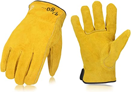 Vgo Glove Lined Cowhide Split Leather Work and Driver Gloves For Heavy Duty/Truck Driving/Warehouse/Gardening/Farm (3 Pairs Yellow Size 11/L and 11.5/XL)