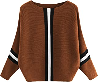 Milumia Women's Ribbed Knit Jumper Batwing Sleeve Pullovers Sweater Top