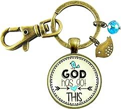 God Has Got This Keychain Christian Life Faith Inspired Jewelry Vintage Style Pendant Bird Charm Encourage Card