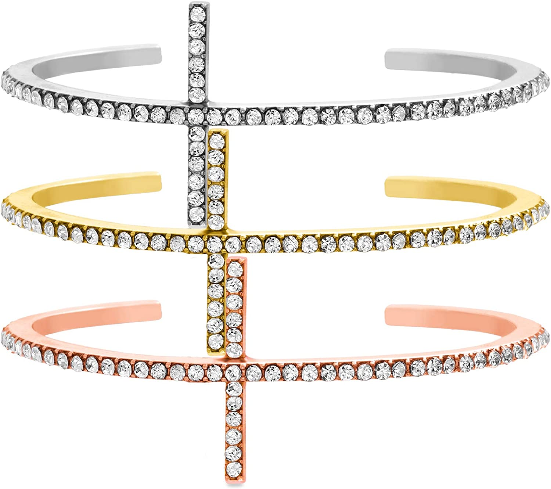 Steve Madden Tri-Tone Rhinestone Trio Cross Design Cuff Bangle Bracelet For Women
