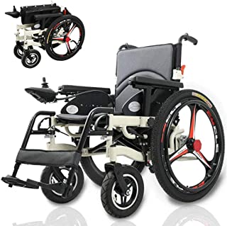 ZXOIHH Electric Wheelchair, Folding Portable Powerchair 250W2 Dual Motor Drive with Electric Power Or Use As Manual for Disabled Elderly Aluminum Alloy 15AH Lithium Battery