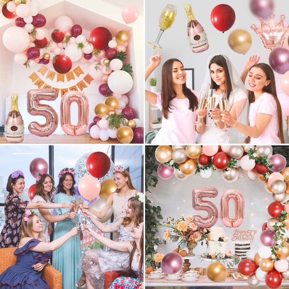 Decoraci/ón de 18 cumplea/ños para mujer globos met/álicos de color rosa dorado y plateado con pancarta de feliz cumplea/ños globos rojos de granada globos de papel de aluminio decoraci/ón para tart
