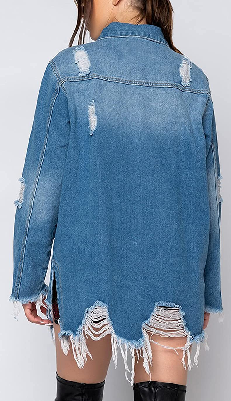Jean Jacket for Women Distressed Ripped Long Sleeve Loose Midi Distressed Fray Hem Denim Coat