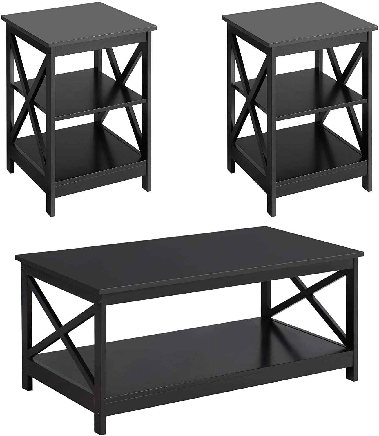 Yaheetech Wood Living Room 3-Piece - Table Ranking TOP1 Sets X-Desig 2021new shipping free shipping Includes