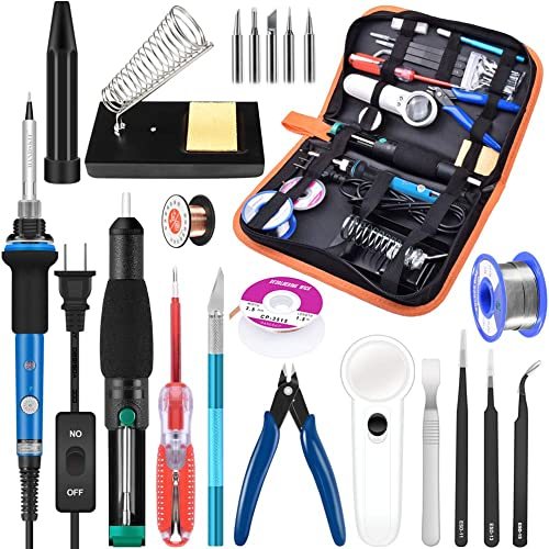 Soldering Iron Kit Electronics, 21-in-1, 60W Adjustable Temperature Soldering Iron, 5pcs Soldering Iron Tips, Solderi...