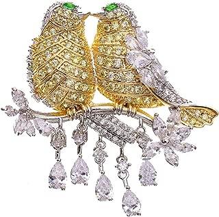 [エスフィールズインク] 小鳥 ブローチ クリスタル ラインストーン キラキラ 2匹 つがい カップル セキセイ インコ ネックレス ペンダントヘッド (ゴールド)