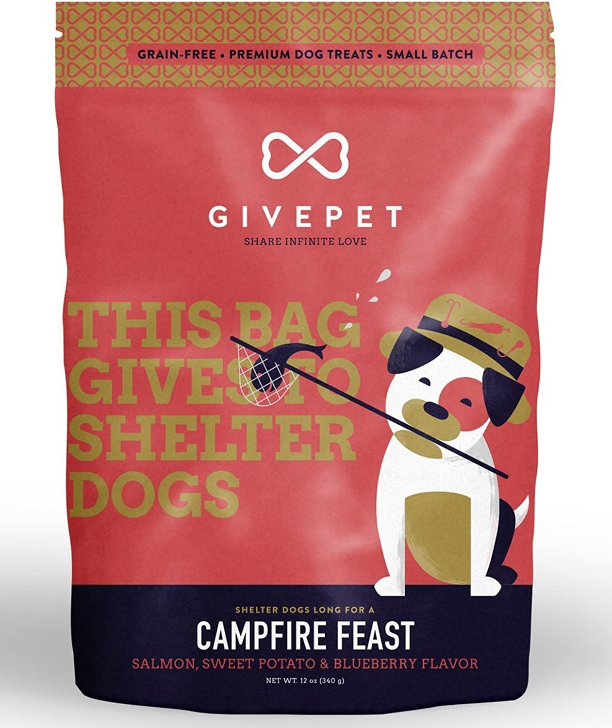 GivePet Campfire Feast Pet Treats Salmon Sweet Potato & blueeberry Flavor in 12 oz Bag