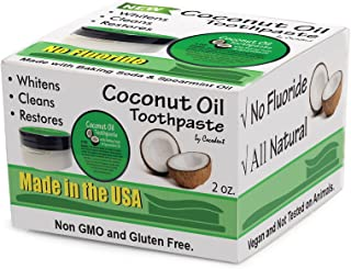 Coconut Oil Teeth Whitening Toothpaste with Baking Soda & Spearmint