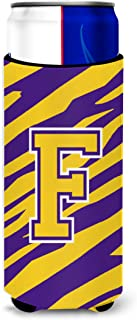 Monogram - Tiger Stripe - Purple Gold  Letter F Ultra Beverage Insulators for slim cans CJ1022-FMUK