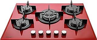 Millar GH7051PR Plaque de cuisson en Verre trempé avec 5 brûleurs à gaz 70 cm/TABLEAU AU GAZ Rouge