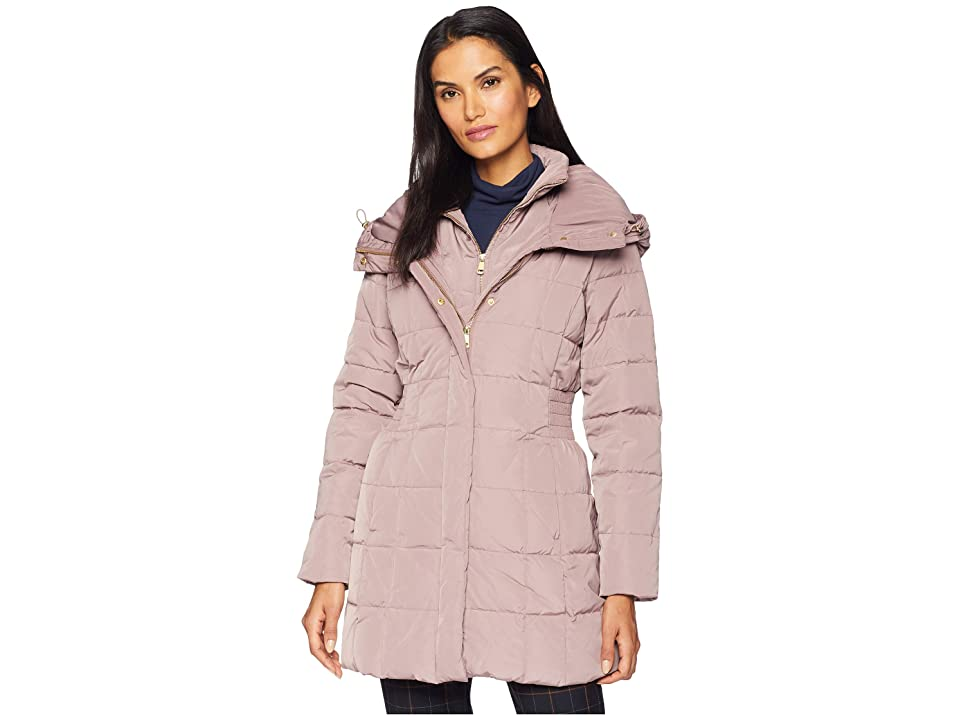 Cole Haan Down Coat with Bib Front and Dramatic Hood (Mauve) Women