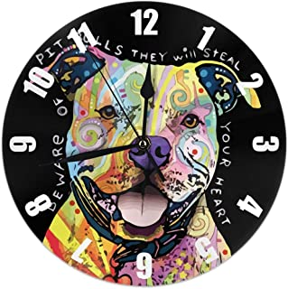 MJclocks Dog Pit Bull 10 Inch Design Round Classic Wall Clock Battery Operated for Home Decorative Living Room Bathroom Office