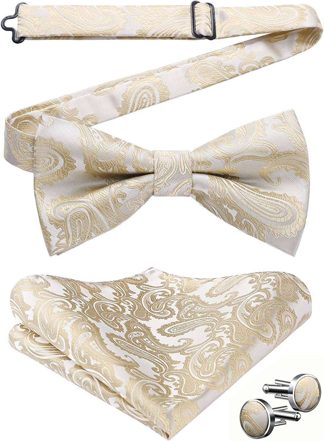 Mens Floral Paisley Pre-tied Bow Tie Classic Formal Satin Woven Silk Bowtie Pocket Square Cufflink Set for Wedding Prom