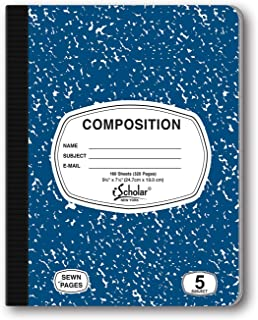 iScholar 5-Subject Colored Marble Composition Book, 160 Sheets, Wide Ruled, 9.75 x 7.5-Inches, Cover Color May Vary (18115)