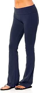 Solid Foldover Solid Bootleg Flare Yoga Pants