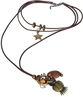 Sansar India Long Multistrand Boho Sweater Charms Necklace for Girls and Women