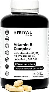 Vitamina B Complex | 210 cápsulas veganas para 7 meses | Complejo Vitaminas B con B1. B2. B3. B5. B6. B12. Biotina y Ácido Fólico | Aumenta el nivel