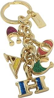 Coach Letter Mix Key FOB Charm Gold & Multi F40679