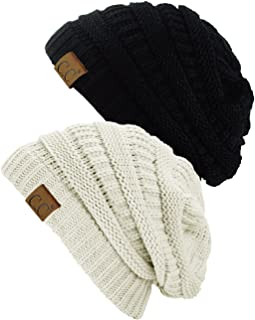 Trendy Warm Chunky Soft Stretch Cable Knit Beanie Skully, 2 Pack