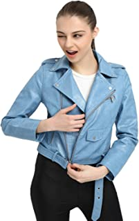 dc577e2773 LY VAREY LIN Women's Faux Leather Motorcycle Jacket PU Slim Short Biker Coat
