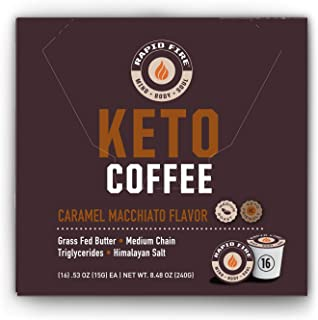 Rapid Fire Caramel Macchiato Ketogenic High Performance Keto Coffee Pods, Supports Energy & Metabolism, Weight Loss, Ketog...