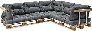 [en.casa] Set de 11 Cojines para sofá-palé - Cojines de Asiento + Cojines de Respaldo Acolchados [Gris Claro] para europalé In/Outdoor
