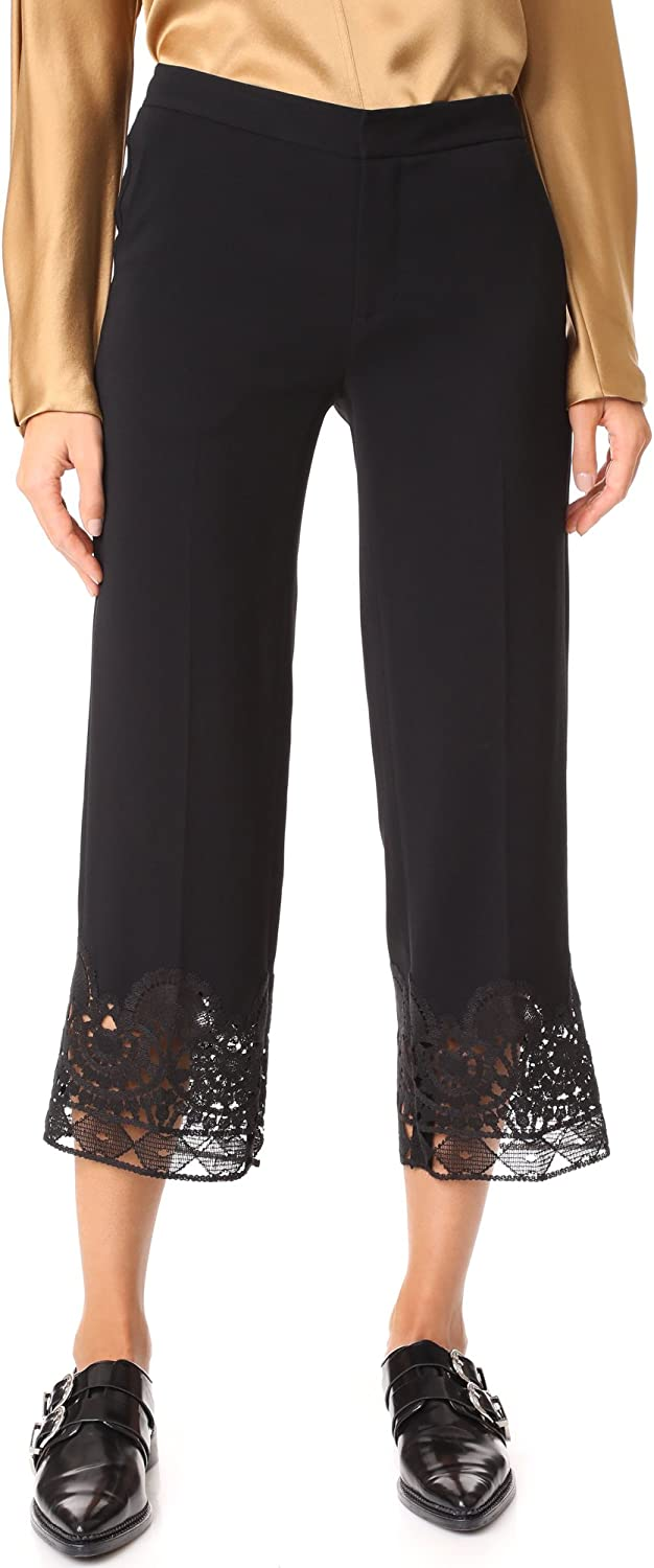 Kobi Halperin Womens Angela Lace Hem Embroidered Cropped Pants